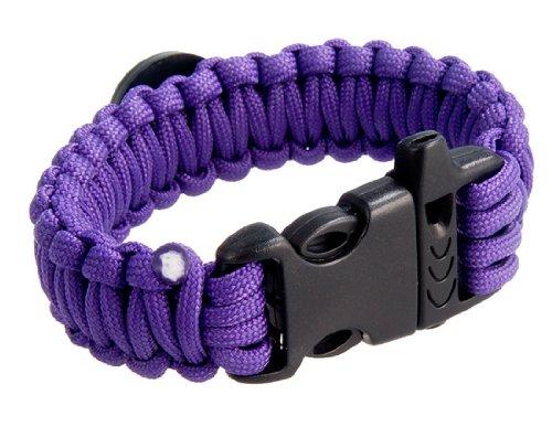 Durable Outdoor Survival Wrist Strap Bracelet with Compass (Purple)