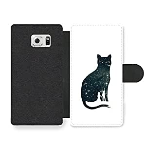 Cool Cat Illustration with Cute Couple Star Gazing on White Funda Cuero Sintético para Samsung Galaxy S6 Edge