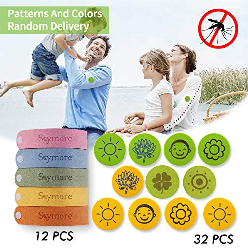 SKYMORE Sticker 12 Pack Natural Citronella Bracelets Safe Fiber Material, Wrist Ankle Bracelet Kit with Adjustable Wristbands with Buttons, Lasting Protection for Kids & Adults Outdoor