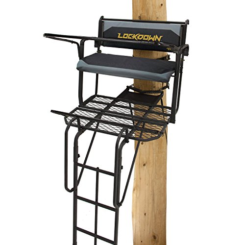 Rivers Edge RE650, Lockdown 21' 2-Man Ladder Tree Stand, Extra Tall 21' Height with Flip-up Padded Bench Seat, Wide 42' Platform, Removable Shooting Rail, Flip-out Footrest, 3rd Ladder Rail, Back/Arm Rests