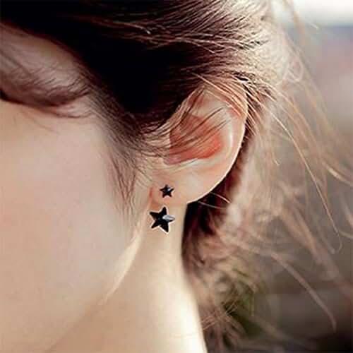 SPHTOEO Women Girls Shiny Crystal Rhinestone Little Star Earrings Ear Studs (Black)