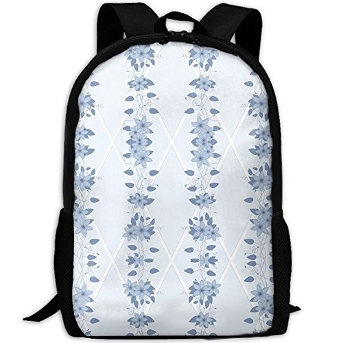 Casual Large College School Daypack, Laptop Outdoor Backpack, Travel Hiking& Camping Rucksack Pack For Glory Bower Clematis Chambray Blues Wallpaper Print (Chambray Wallpaper)