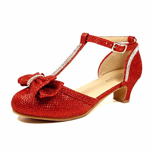 Nova Utopia Girls Low Medium Heel Dress Sandal Flower Girl Shoes,NF Utopia Girl NFGFH58H Red 2