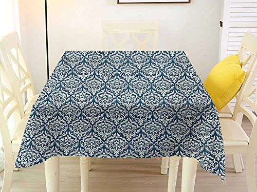 L'sWOW Square Tablecloth White Fringe Victorian Fashionable Modern Country Style Abstract Illustrated Antiquity Vintage Navy Blue Cream Polyester 54 x 54 Inch ()