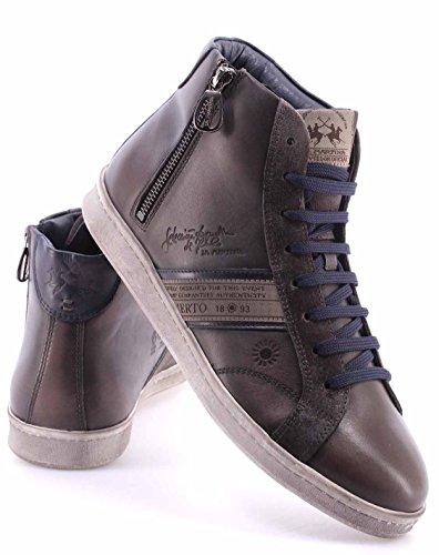 La Martina Zapato Hombre L2006236 Ascot Grey Camoscio Grafite Top Sneakers New