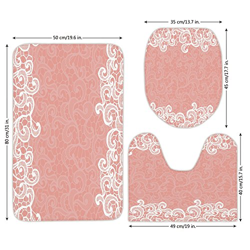 3 Piece Bathroom Mat Set,Peach,Lace Design on Soft Colored Background Ornamental Pattern Wedding Inspired Image,Coral White,Bath Mat,Bathroom Carpet Rug,Non-Slip by iPrint