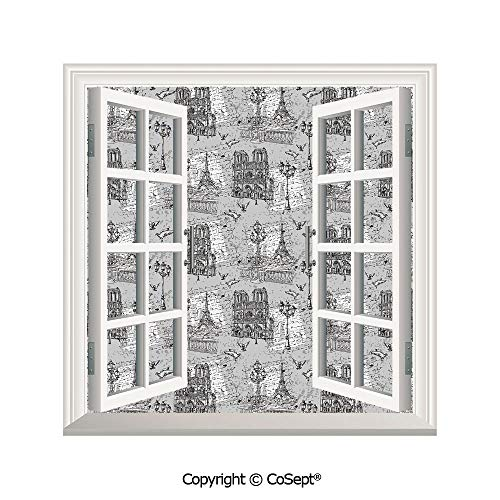 SCOXIXI Artificial Window Wall Applique Landscape Wall Decoration,Vintage Monochrome Image Seine River Notre Dame Cute Doves Scenes from Europe,Window Decorative Decals Interior(26.65x20 inch)