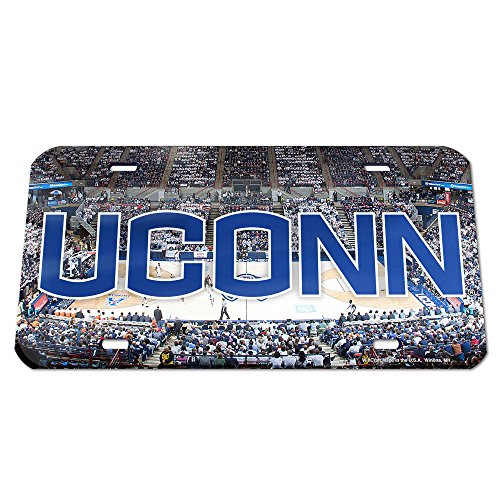 NCAA Connecticut Huskies Basketball Court Crystal Mirror License Plate, 6 x 12-Inch