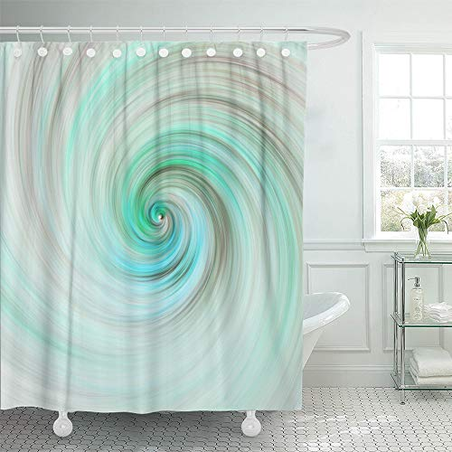 Emvency Shower Curtain Set Waterproof Adjustable Polyester Fabric Fantastic Swirl Abstract Green and Grey Fractal Fantasy Digital 3D Rendering 60 x 72 Inches Set with Hooks for Bathroom