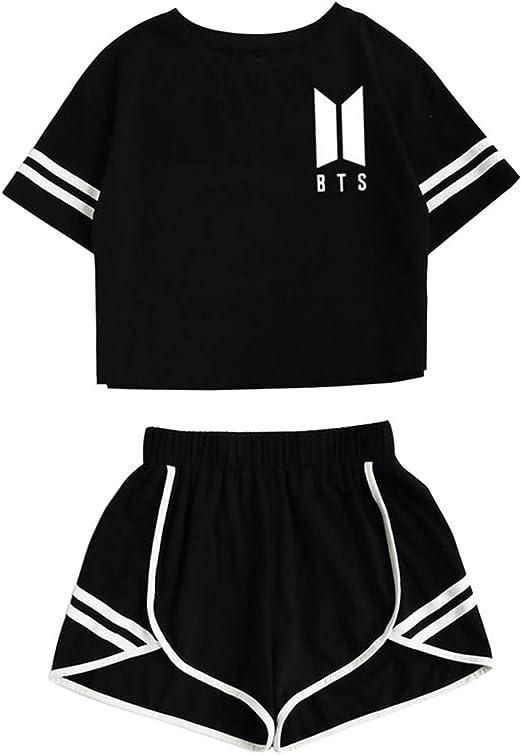 JLTPH Mujer KPOP BTS 2pcs Crop Top y Pantalones Cortos Set Cuello ...