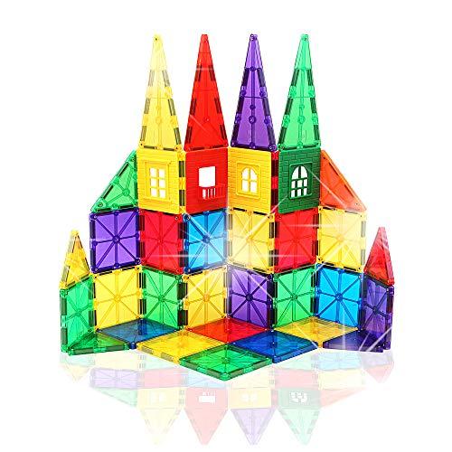 Builder Set 3 Piece - Smarty Pants Builder's Club | 60 Piece | 3D Magnetic Building Blocks | STEM Toys for Kids | Encourages Creativity & Learning | Educational Construction Set for Girls & Boys Age 3+ (60 Magnetic Tiles)