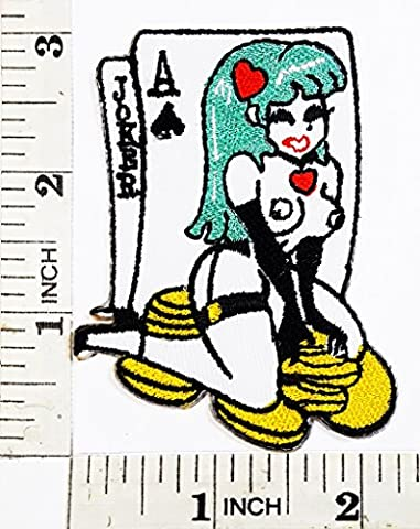 Sexy Naked cartoon Anime Girl Sitting on Chips patch Symbol Jacket T-shirt Patch Sew Iron on Embroidered Sign Badge - Sitting Girl