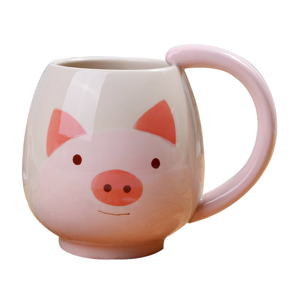 Verdental Novelty Funny Animal Cup Coffee Mug Tea Cup Collection Mugs Hand Painted Ceramic Mug (Pink,Pig)