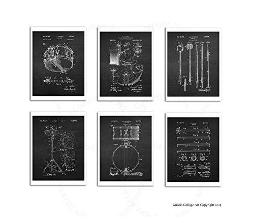 Drum Photo Poster (Drum Posters Set of 6 Unframed Patent Art Chalkboard Gift for Drummer 8x10