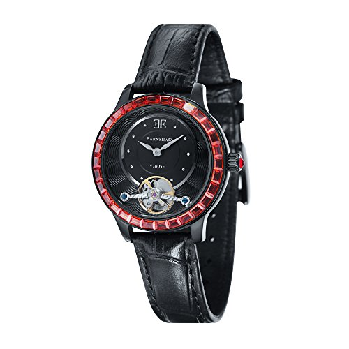 Thomas Earnshaw Girl's 'LADY AUSTRALIS' Mechanical Hand Wind Stainless Steel and Leather Dress Watch, Color:Black (Model: ES-8057-02)