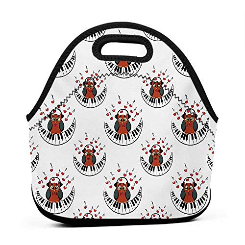(Neoprene Lunch Bag Owls,Musician Pianist Owl with Headphones and Playing a Moon Shaped Piano Clipart Style,Brown Grey Red,large lunch cooler bag for women)