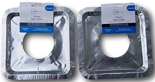 Basic Gas Stove Drip Pan Foil Liners for Easy Clean-up (Disposable) - Pack of 20 (Gas Range Drip Pans Square)