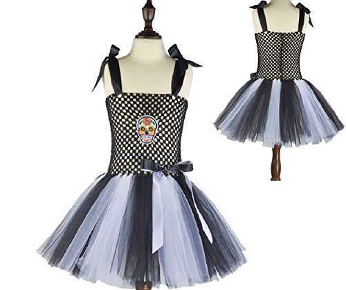 (Black and White Sugar Skull Tutu Dress Costume from Chunks of Charm)