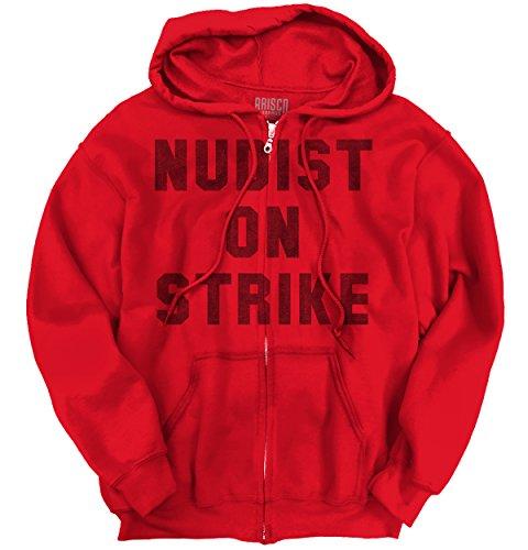Nudist On Strike Fashion Funny Humor Cool Trendy Hip Novelty Zip Hoodie