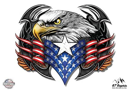 Amazon Com Eagle American Flag Patriotic Vinyl Sticker Waterproof
