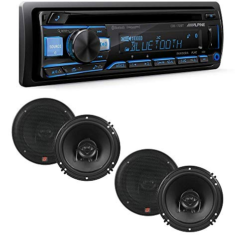 Alpine CDE-172BT 200W Advanced Bluetooth CD/USB/MP3 Car Audio Stereo Receiver / 2 Pairs of XED62 XED Series 6.5 inch 2-Way Coaxial Car Speakers -