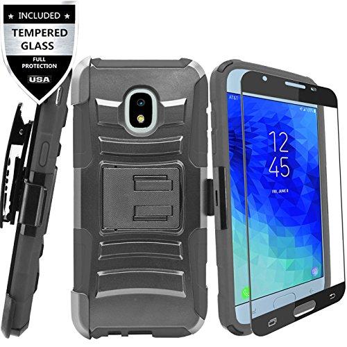 Samsung Galaxy J7 2018/Galaxy J7 Refine/J7 Star/J7 TOP/J7 V 2nd Gen 2018/J7 Aero/J7 Aura/J7 Crown Case With Tempered Glass Screen Protector,IDEA LINE Combo Holster Kickstand Belt Clip - - Top Protector Case