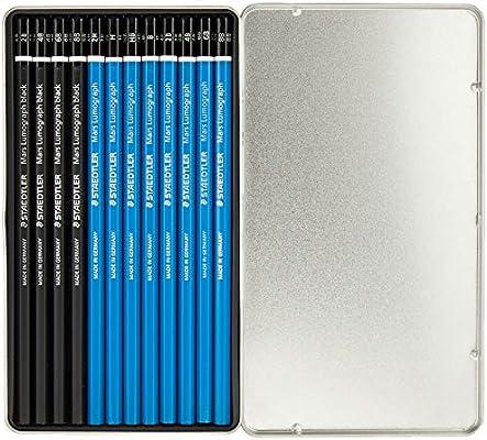 Staedtler Mars Lumograph 100 G12 S1. 12 lápices de dibujo de graduaciones variadas en estuche de metal: Amazon.es: Oficina y papelería