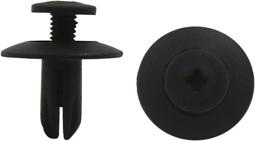 sourcingmap/® 100 pcs 6mm Rivets plastique noir trou /élargir pousser clip pour pare-choc porti/ère voiture
