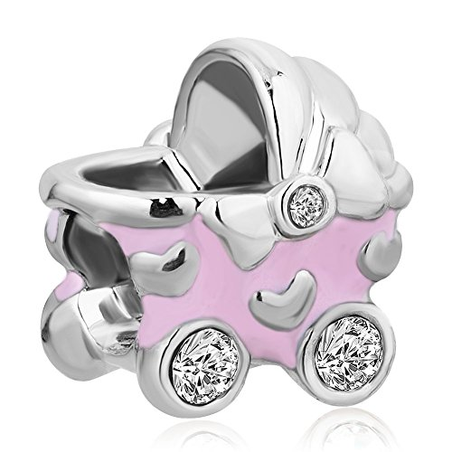 Price comparison product image Charmed Craft Enamel Baby Stroller Carriage Charms Beads Rhinestone Charms for Bracelets (Pink)