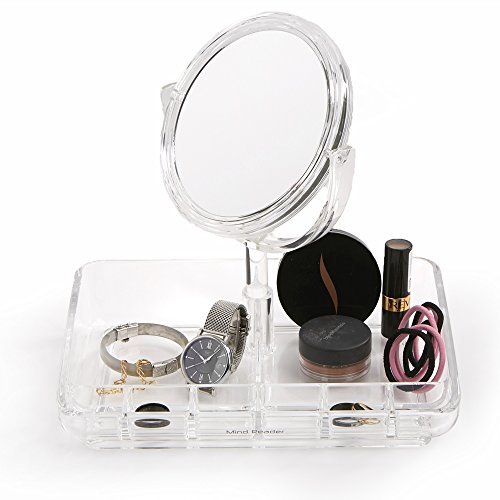 Mind Reader Makeup Organizer, Cosmetic Storage Tray, Jewelry Organizer with Mirror for Vanity, Bathroom, Fits Toner, Watches, Rings, Makeup, Brushes, Lipstick and More