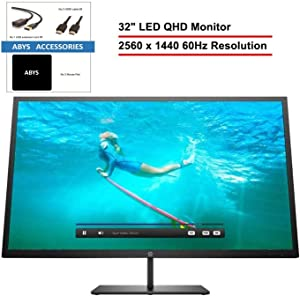 "HP Pavilion 32"" 2560 x 1440 QHD LED Anti-Glare 60Hz Monitor for Business and Student, 3000:1 Contrast Ratio, 300 cd/m² Brightness, with Display Port, HDMI, ABYS Accessories"