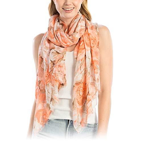 Me Plus Women Fashion Lightweight Soft Spring Summer Long Scarf Shawl Wraps (Flower Print - Coral)