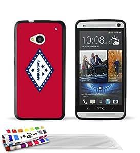 """Carcasa Flexible Ultra-Slim HTC ONE / M7 de exclusivo motivo [Arkansas Bandera] [Negra] de MUZZANO  + 3 Pelliculas de Pantalla """"UltraClear"""" + ESTILETE y PAÑO MUZZANO REGALADOS - La Protección Antigolpes ULTIMA, ELEGANTE Y DURADERA para su HTC ONE / M7"""