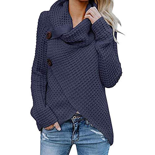 Sunmoot Clearance Button Blouse for Women, Women's Long Sleeve Lrregular Hem Cowl Neck Pullover Tops T Shirt Navy