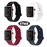 RUOQINI Replacement Wristband for Apple Watch Band 38mm,Sport Silicone Sport for iWatch Apple Watch Series 3/2/1 (38mm S/M - 4 Pack B)