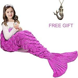 JR.WHITE Mermaid Tail Blanket for Adults, Hand Crochet Snuggle Mermaid,All Seasons Seatail Sleeping Bag Blanket (Pink)
