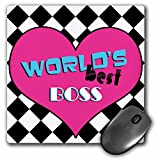 3dRose LLC 8 x 8 x 0.25 Inches Mouse Pad, Worlds Best Boss Pink (mp_31246_1)