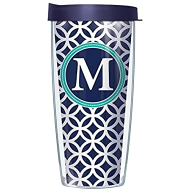 M Initial on Navy Roundabout Traveler 16 Oz Tumbler Cup with Lid