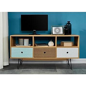 Colette Meuble Tv 120 Cm Decor Chene Et Impression Vintage Amazon