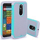 Moto X (2nd Gen) Case, LK [Shock Absorption] Hybrid Dual Layer Armor Defender Protective Case Cover for Motorola Moto X 2nd Generation (Mint)