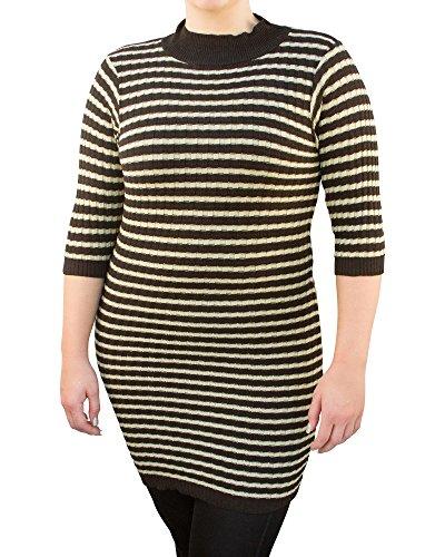 A Knitch Above Womens Mid Sleeve Striped Sweater Dress, Black & Ivory, Size M