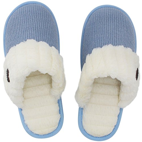 Slippers Foam Knitted Blue Slip On House Memory Indoor Fuzzy Cute HomeTop Women's Comfy n6qOTav
