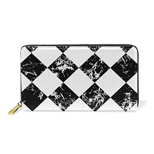 Around Graphic And Womens Clutch Black White Purses Organizer Handbags Wallet Grunge Zip TIZORAX Checked ngU77q