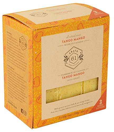 (Crate 61 Tango Mango Soap 3 pack, 100% Vegan Cold Process, scented with premium essential oils, for men and women, face and body. ISO 9001 certified manufacturer)