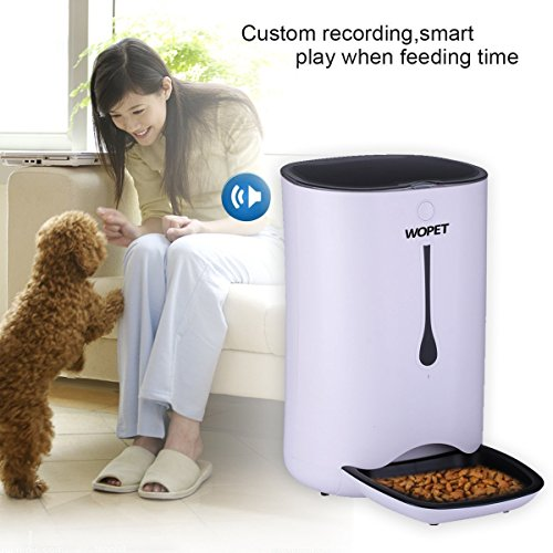 WOpet 7L Automatic Pet Feeder Food Dispenser for Cats and Dogs-Features: Distribution Alarms, Portion Control, Voice Recorder, Programmable Timer for up to 4 Meals per Day