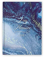 """Day Planner 2021 Daily Large: Hardcover Agenda 8.5"""" x 11"""" - 1 Page per Day Planner - Blue Marble - January - December 2021 - Dated Planner 2021 Productivity, XXL Planner, Daily and Monthly"""