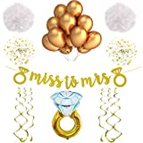 White and Gold Bachelorette Party Decorations and Accessories. For a Classy Bridal Shower or Engagement Party. With a Stunning Miss to Mrs Banner!