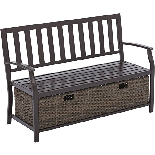 Easy to Assemble Powder Coated Steel Farmhouse Bench with Wicker Storage Box by Better Homes and Gardens