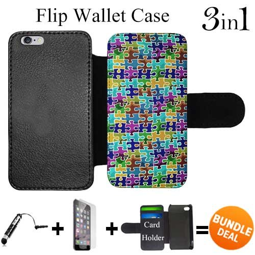 iPhone 6/6S (Colorful Puzzle Pattern Texture) with Adjustable Stand and 3 Card Holders | Shock Protection | Lightweight | Includes HD Tempered Glass and Stylus Pen by Innosub ()