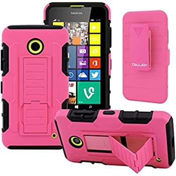 NOKIA Lumia 635 Case, CellJoy [Full Body Armor] {Hot Pink} Lumia 630 Case **ShockProof** Dual Layer Impact Bumper Protection Hybrid Cover **Kickstand** [Locking Swivel Belt Clip Holster Combo]